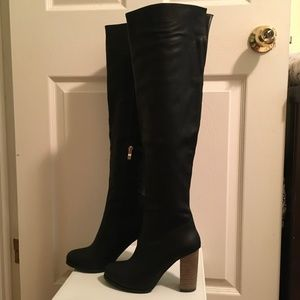 Vegan leather over the knee boots